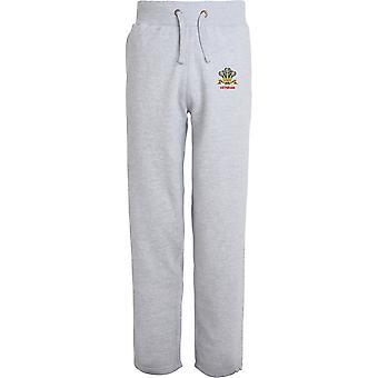 Royal Regiment of Wales Veteran - Licensed British Army Embroidered Open Hem Sweatpants / Jogging Bottoms