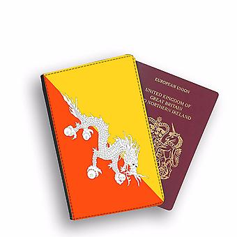 BHUTAN Flag Passport Holder Style Case Cover Protective Wallet Flags design