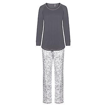Rosch 1193552-16409 Women's Smart Casual Mono Grey Floral Cotton Pyjama Set