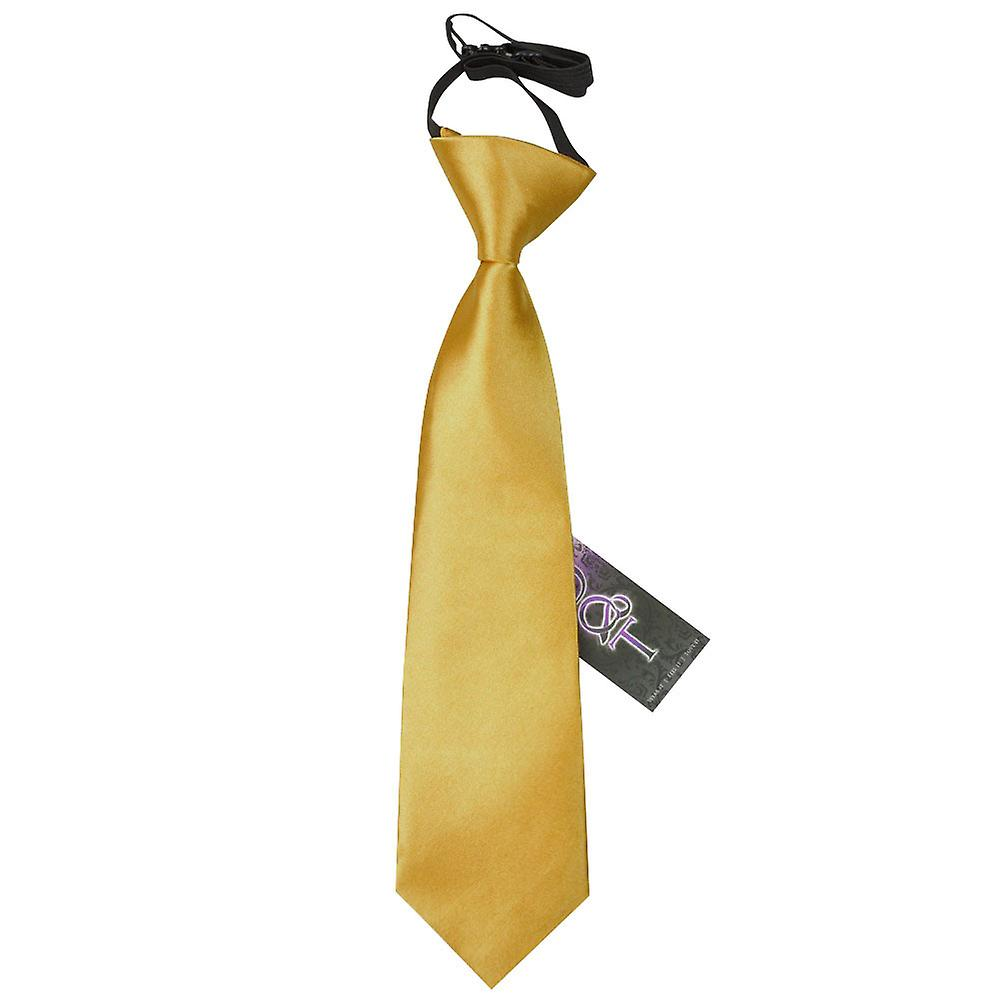 Boy's Plain Gold Satin Pre-Tied Tie (2-7 years)