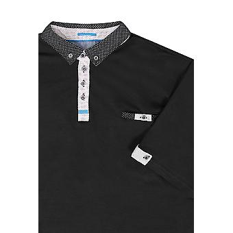 D555 Black Polo Shirt With Woven Collar - TALL