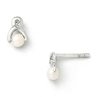 Sterling Silver White Ice zoetwater Cultured Pearl en Diamond Post oorbellen -.03 dwt