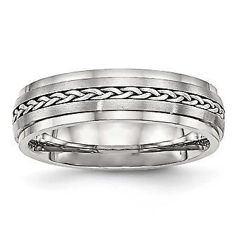 6.1mm RVS gepolijst en geborsteld met zilver vlecht Inlay Ring - Ring grootte: 8 tot en met 13