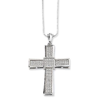 Sterling Silver and Cubic Zirconia Polished Cross Necklace - 18 Inch