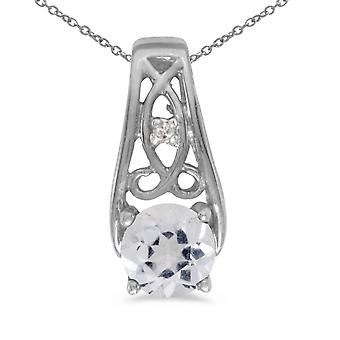 14k White Gold Round White Topaz And Diamond Pendant with 18