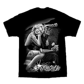 DGA Tees Ride eller dø Hollywood ven sort Herre Tshirt Marilyn Monroe Biker
