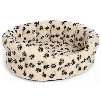 Premium Oval Drop Front Softee Bed Fleece Paw Print Beige Size 4 61x51x22cm