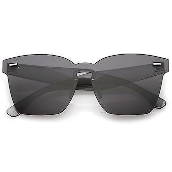 Oversize Rimless Keyhole Nose Bridge Mono Lens Horn Rimmed Sunglasses 63mm