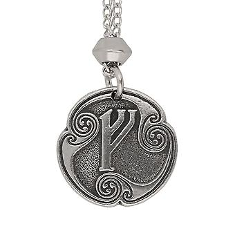 Handmade Norse Viking Fehu Rune of Prosperity Pewter Pendant ~ 22 inch Chain