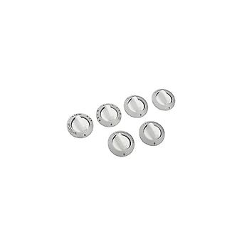 Electrolux Cooker Silver and White Control Knob Kit - Pack of 6