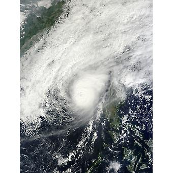 December 8 2012 - Typhoon Bopha over the South China Sea just off the coast of the Philippine island of Luzon Poster Print