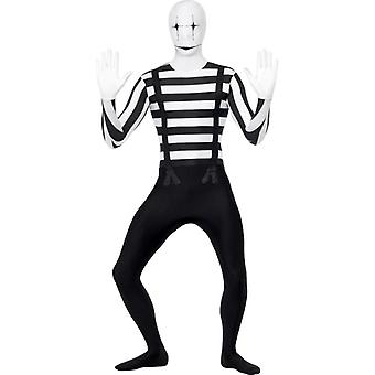Pantomime second skin pumpkin black white costume Stretchanzug men's