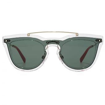Valentino Keyhole Double Lens Sunglasses In Transparent & Green
