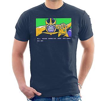 あなたの世界は、すべて私はサノス ゼロ翼男の t シャツに属しています。