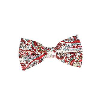 Snobbop-bound fly white red vine pattern loop cotton bow tie