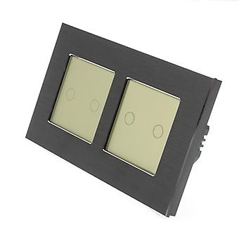 I LumoS Black Brushed Aluminium Double Frame 4 Gang 1 Way Remote & Dimmer Touch LED Light Switch Gold Insert