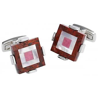 Duncan Walton Keek Brecciated Jasper/Mother of Pearl and Rhodochrosite Stone Cufflinks - Red/Silver