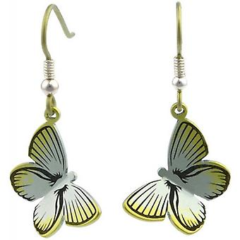 Ti2 Titanium Woodland Large Butterfly Drop Earrings - Yellow