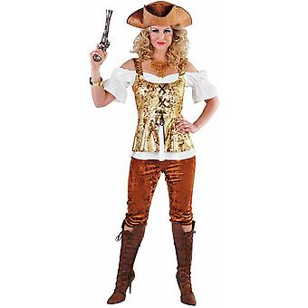 Kvinder kostumer pirat dame med gyldne brune bukser