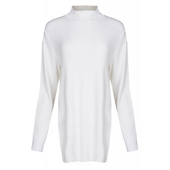 ADPT. Way high neck knit sweater ladies stretch pullover white elegant