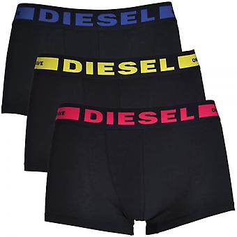 DIESEL 3-Pack Boxer Trunk UMBX-Kory, Black With Yellow / Pink / Blue, Large