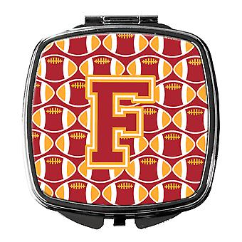 Letter F Football Cardinal and Gold Compact Mirror