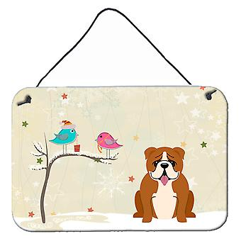Christmas Presents between Friends English Bulldog Red White Wall or Door Hangin