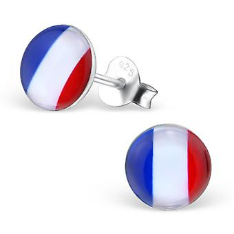 French Flag - 925 Sterling Silver Colourful Ear Studs