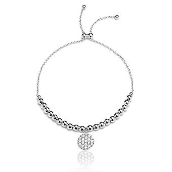 Sterling Silver Adjustable Bracelet with Cubic Zirconia Disc Charm and Beads, , 9 Inch