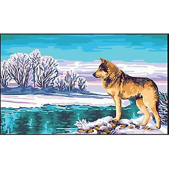 Collection D'Art Needlepoint Printed Tapestry Canvas 60X50cm-Wolf CD11869