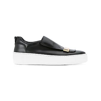 Sergio Rossi women's A79290MMV1171000 black leather slip on sneakers