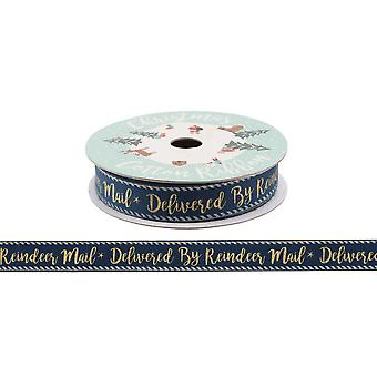 CGB Giftware Christmas Gold Reindeer Mail Ribbon (5m)