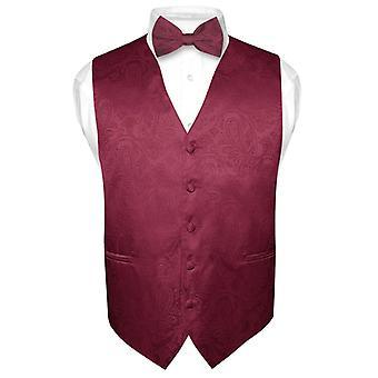 Men's Paisley Design Dress Vest & Bow Tie BOWTie Set for Suit Tux