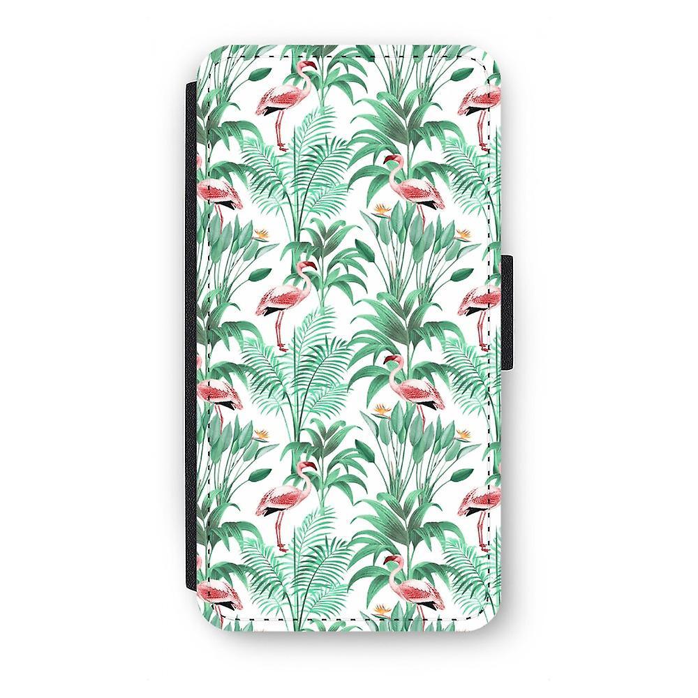 Huawei P9 Flip Case - Flamingo bladeren