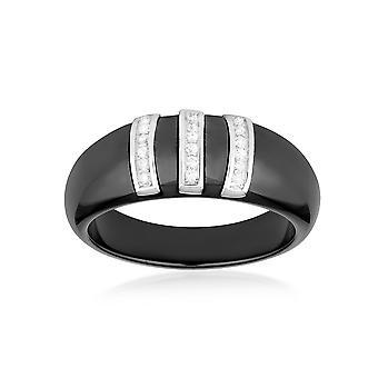 Anillo diseño cerámica negra, cristales cúbicos Circonia blanca y plata 925 - T50
