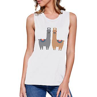 Llama Pattern Womens White Muscle T-Shirt