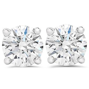 2ct Round Cut Diamond Screw Back Studs 14K White Gold