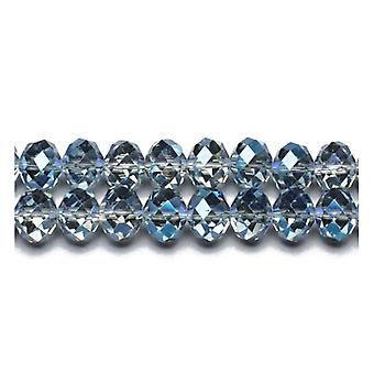 90+  Blue/Grey Czech Crystal Glass 3 x 4mm Faceted Rondelle Beads GC9597-1