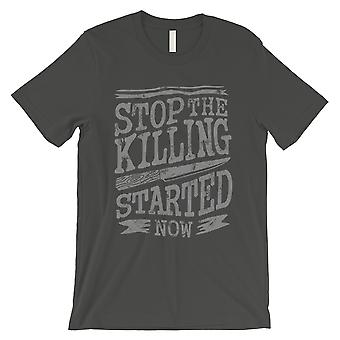 Stop The Killing Mens Cool Grey Vintage Style Typogrpahic T-Shirt