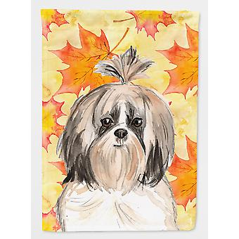 Carolines Treasures  CK1826CHF Fall Leaves Shih Tzu Flag Canvas House Size