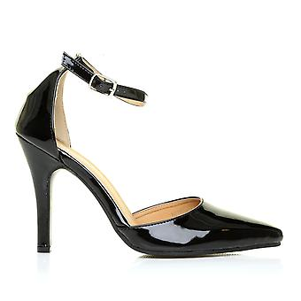 NEW YORK Black Patent Ankle Strap Pointed High Heel Court Shoes