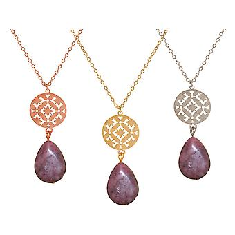 GEMSHINE ladies necklace with mandala and pink rhodonite gem. Pendant, silver, gold plated rose gold plated 60 cm-long necklace. Made in Munich, Germany. In the elegant gift box.