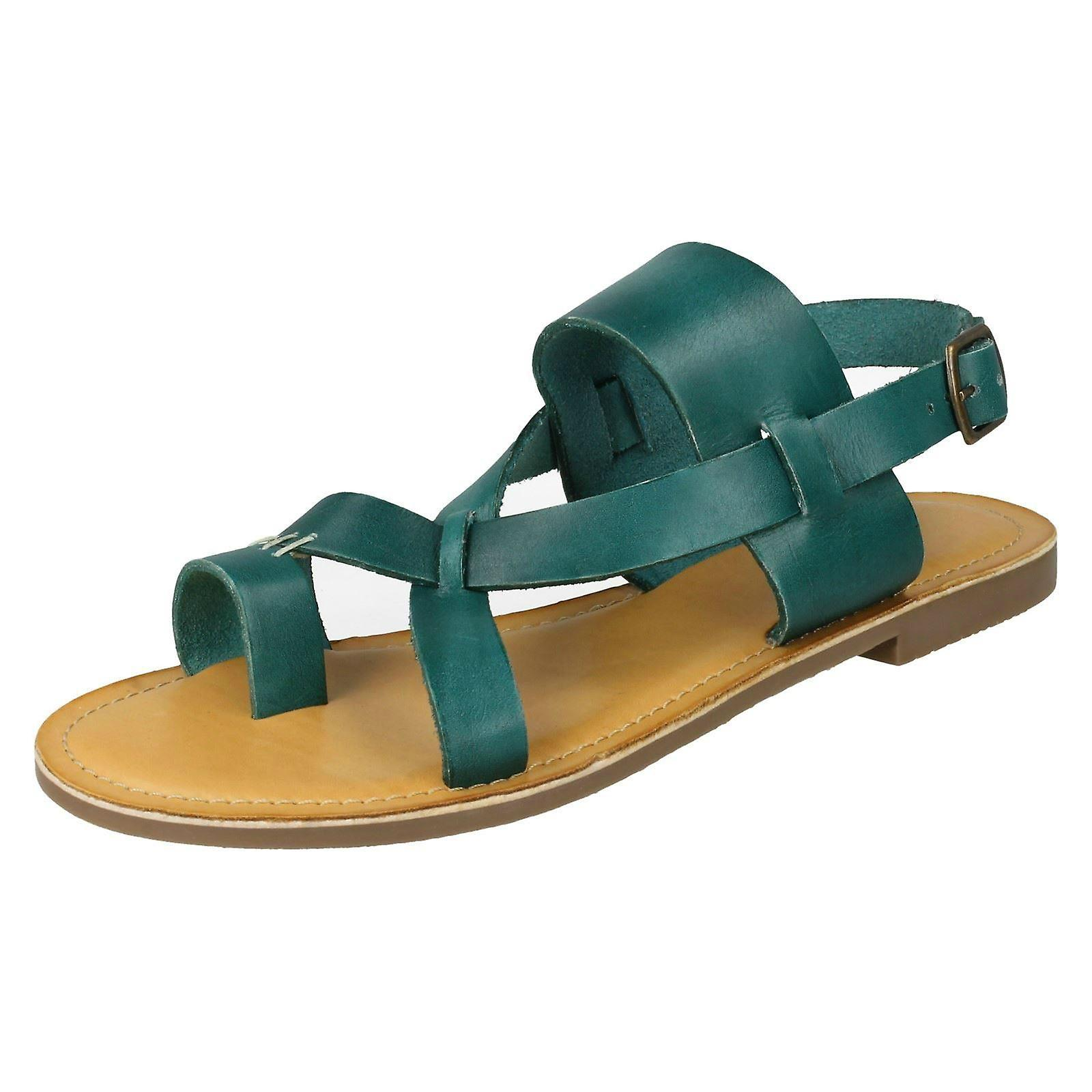 Ladies Leather Collection Toeloop Sandals F00127 - Green Leather - UK Size 4 - EU Size 37 - US Size 6