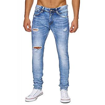 Men's jeans Slim Vintage straight jeans pants with holes stonewashed destroyed torn