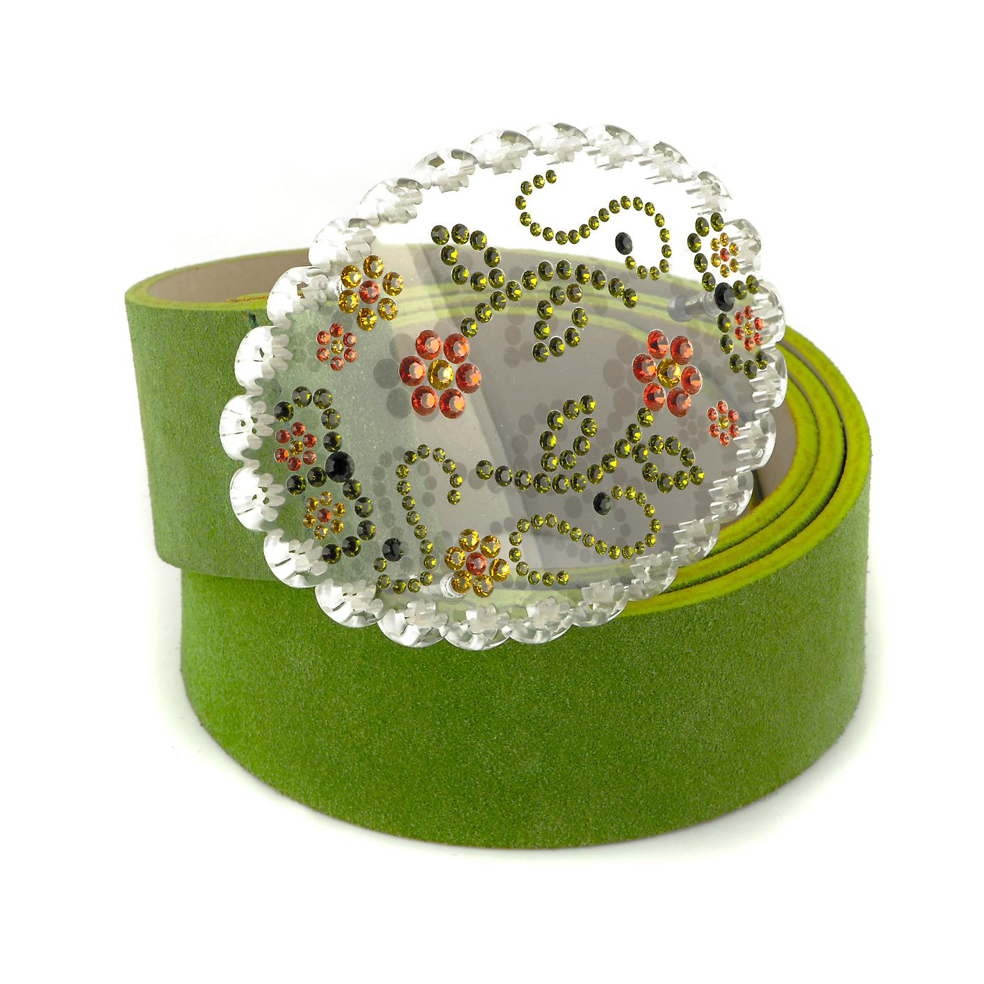 Waooh - belt leather Adreani WCEIN0587 - green yellow red - Perspex Art - leather green Swaroski Strass - made in Italy