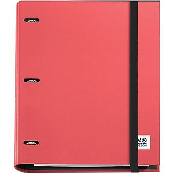 3-Ring Refillable Binder & 100 Sheets Of Paper-Red