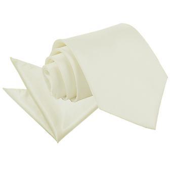 Satijnen stropdas ivoor Plain & zak plein Set