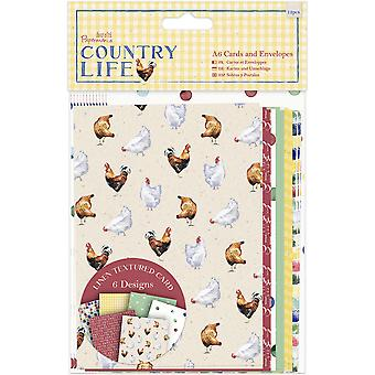 Papermania Country Life Cards W/Envelopes A6 12/Pkg-Linen Finish