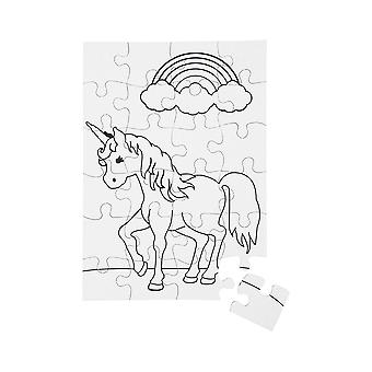 Unicorn Colour In Card Jigsaw Puzzles for Kids Crafts - Pack of 2