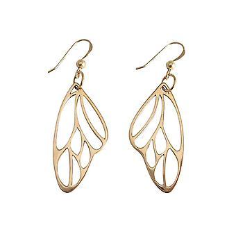 Gemshine - damer - örhängen - 925 Silver - guld metallöverdragna Butterfly wing - 4 cm